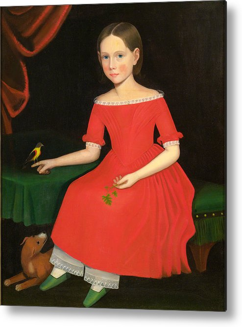 Ammi Phillips Metal Print featuring the painting Portrait Of A Winsome Young Girl In Red With Green Slippers Dog And Bird by Ammi Phillips