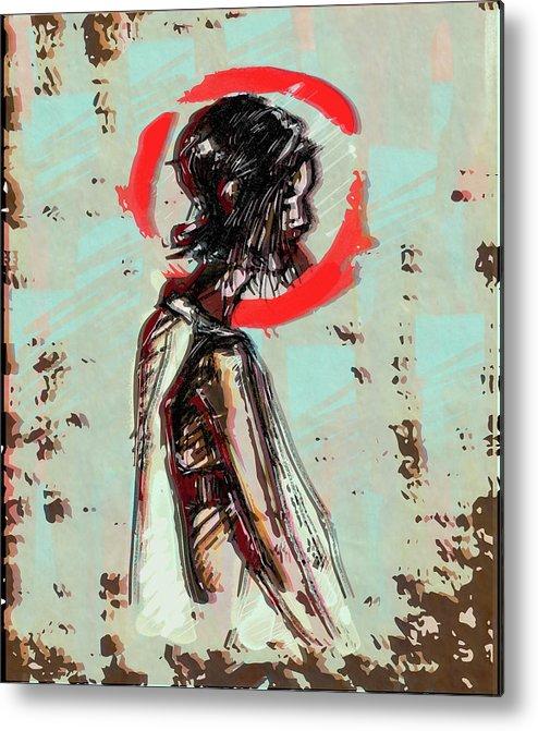Red Metal Print featuring the digital art Red 7 by Tatiana Kotelnikova