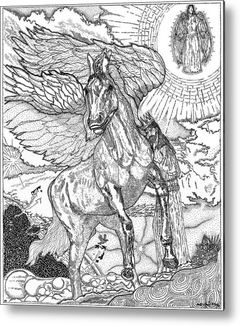 Horse Metal Print featuring the drawing Revelation  Return Of The King by Glenn McCarthy Art and Photography