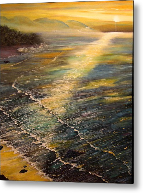 Connie Tom Metal Print featuring the painting Romantic Sunset At Oceanside by Connie Tom