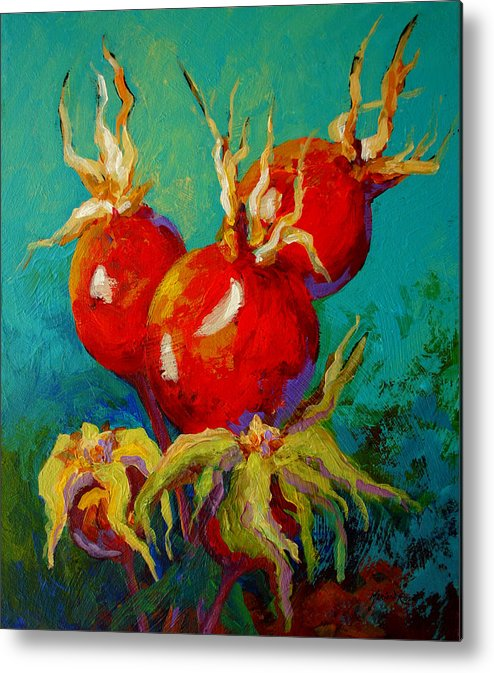 Floral Metal Print featuring the painting Rose Hips by Marion Rose