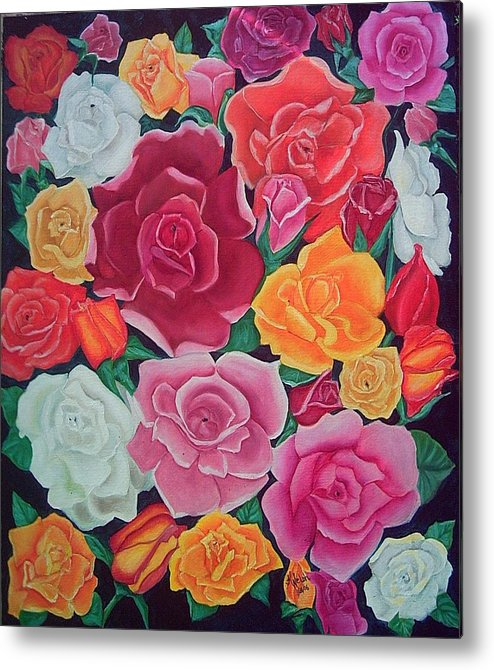 Rose Metal Print featuring the painting Rose Reunion by Kathern Welsh