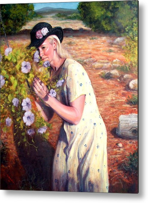 Realism Metal Print featuring the painting Santa Fe Garden 2  by Donelli DiMaria
