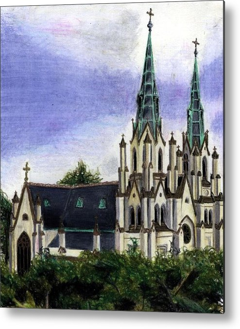 Buildings Metal Print featuring the drawing Savannah Cathedral by Scarlett Royal