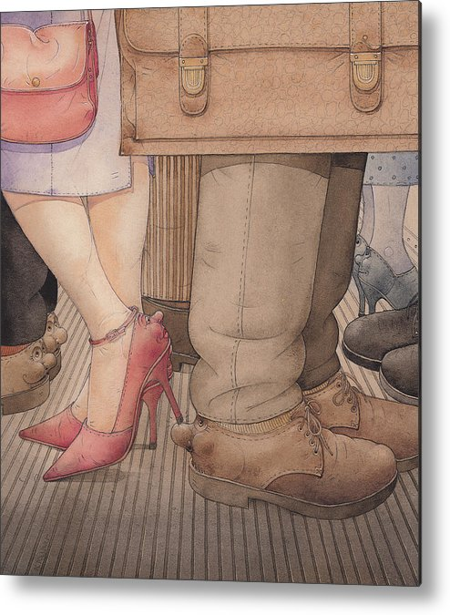 Shoes Flirt Metro Love Amour Metal Print featuring the painting Shoes by Kestutis Kasparavicius