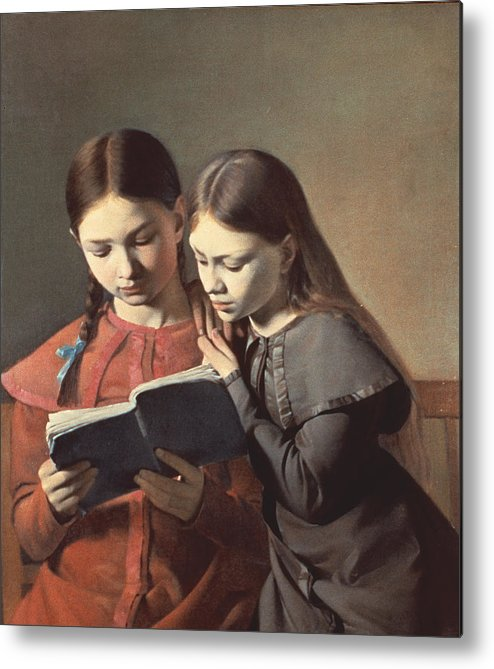 The Metal Print featuring the painting Sisters Reading A Book by Carl Hansen