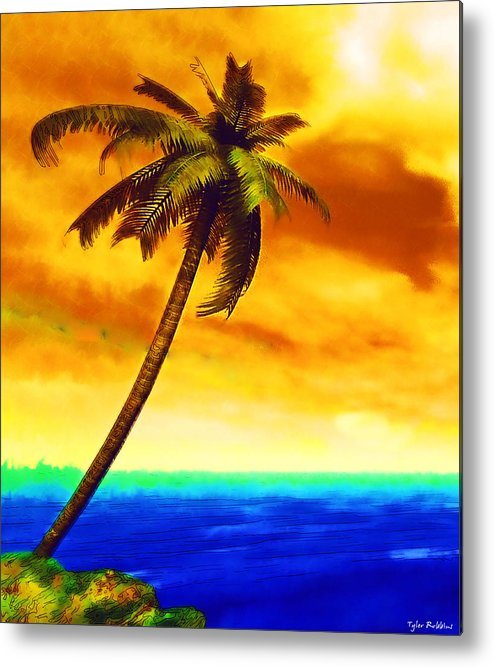 Palm Tree Metal Print featuring the mixed media Solitary Vigil by Tyler Robbins