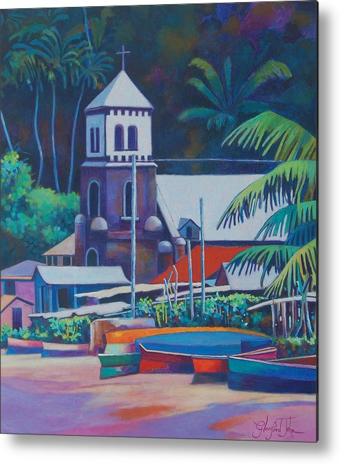 Metal Print featuring the painting Soufriere Church Tower by Glenford John