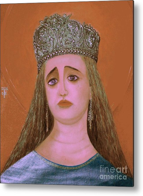 Face Paintings Metal Print featuring the painting St. Martha by Teo Santa