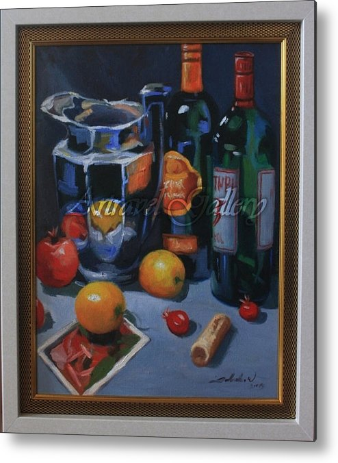 Wine Metal Print featuring the painting still life 2, Wine your style by Setya Wijoyo