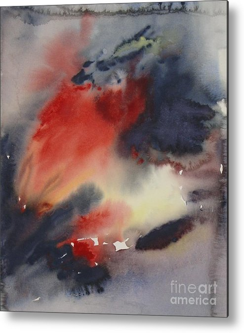 Sky Sunset Red Dark Stormy Evening Dusk Clearing Leila Atkinson Original Watercolor Metal Print featuring the painting Sunset Series I by Leila Atkinson
