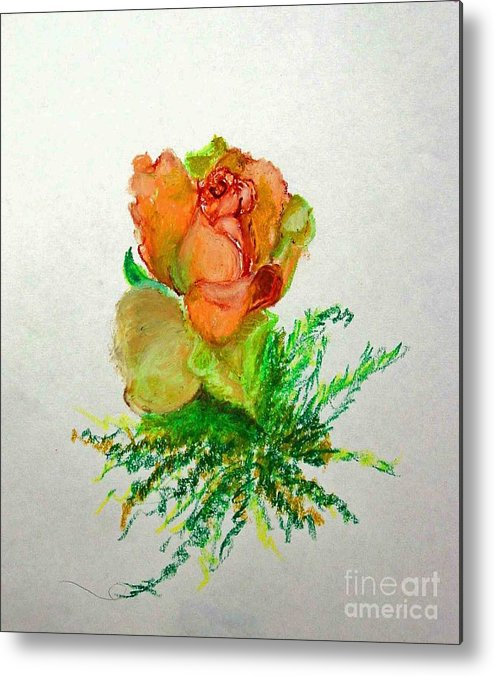 Greeting Card Metal Print featuring the painting Tea Rose            Copyrighted by Kathleen Hoekstra
