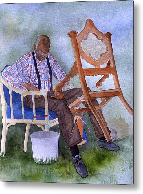 Portrait Metal Print featuring the painting The Art Of Caning by Jean Blackmer