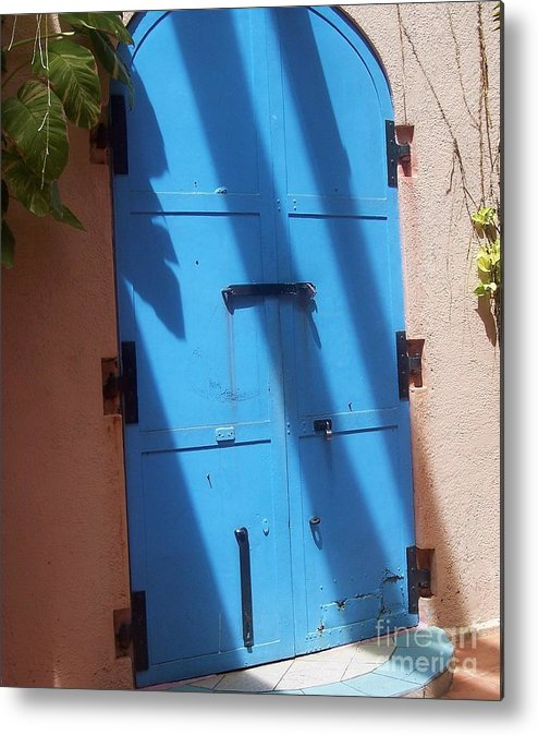 Architecture Metal Print featuring the photograph The Blue Door by Debbi Granruth