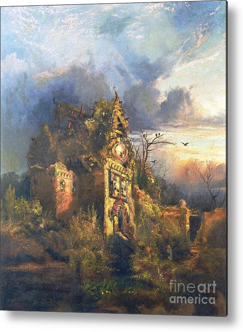 The Haunted House Metal Print featuring the painting The Haunted House by Thomas Moran
