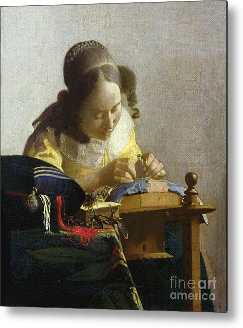 The Metal Print featuring the painting The Lacemaker by Jan Vermeer