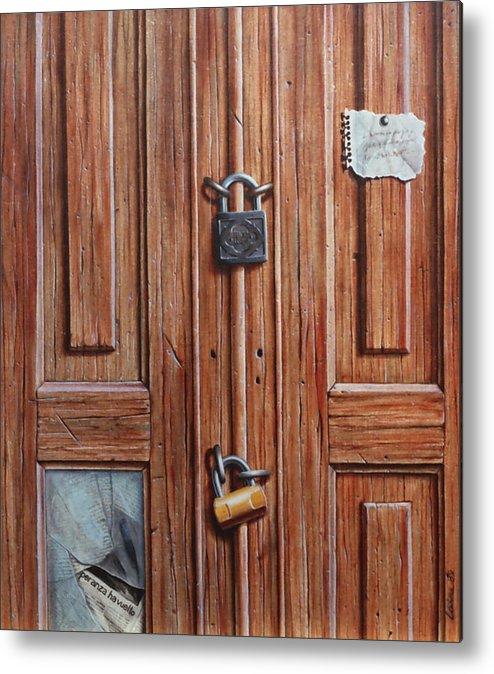 Door Metal Print featuring the painting The Message Door by Laine Garrido