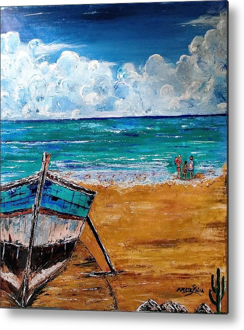 Boat Metal Print featuring the painting The Resting Boat And The Beach Holidays by Neeraj Raina