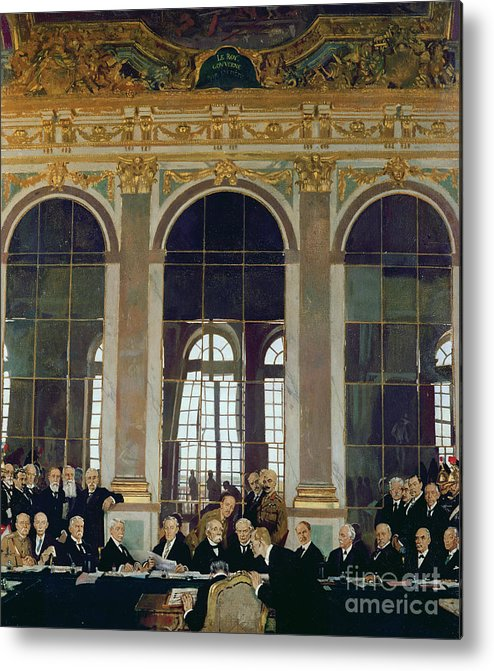 The Treaty Of Versailles Metal Print featuring the painting The Treaty Of Versailles by Sir William Orpen
