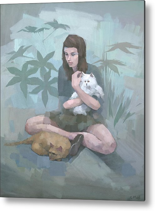 Cat Metal Print featuring the painting The Watchers by Steve Mitchell