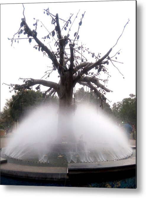 Tree Metal Print featuring the photograph Tree And Fountain by Nishigandha Gaikwad