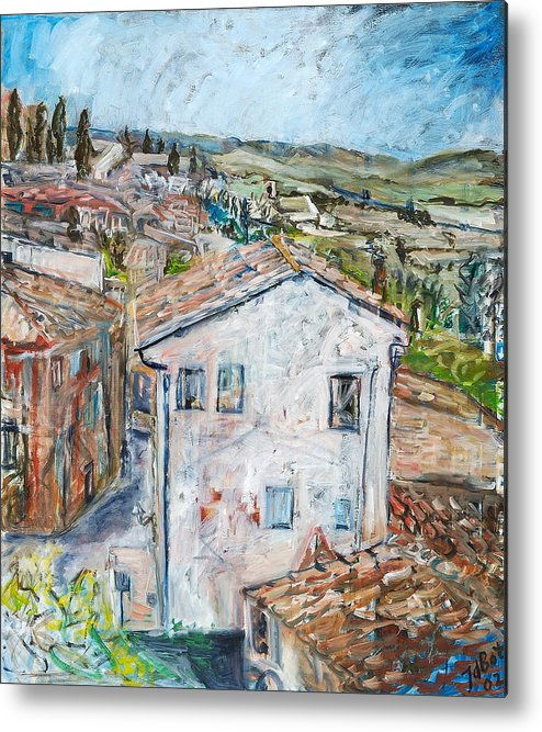 Tuscany Italy White House Landscape Cypresse Hills Roofs Sheds Houses Blue Sky Fields Tiles Metal Print featuring the painting Tuscan House by Joan De Bot
