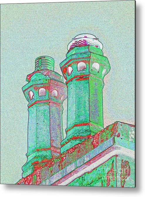 Two Chimney Pots On House. Horncop Lane Metal Print featuring the photograph Two Chimney Pots. by Stan Pritchard