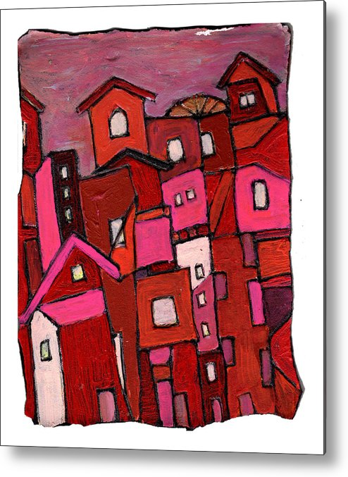 Village Metal Print featuring the painting Village In Pink by Wayne Potrafka
