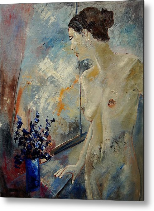 Girl Metal Print featuring the painting Waiting For Her Lover by Pol Ledent