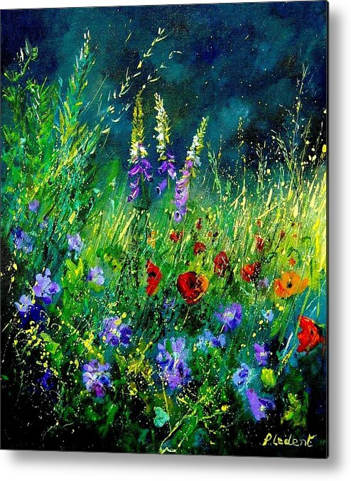 Poppies Metal Print featuring the painting Wild Flowers by Pol Ledent