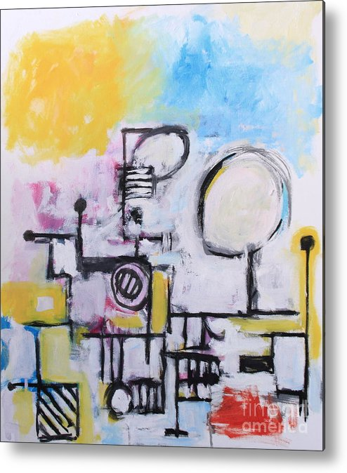 Abstract Metal Print featuring the painting Woman At The Beach by Michael Henderson