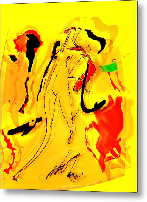Abstration Metal Print featuring the digital art Yellow by Noredin Morgan