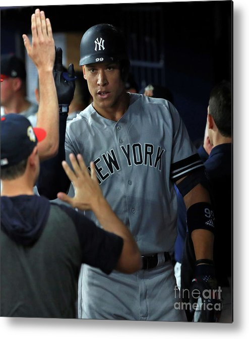 People Metal Print featuring the photograph New York Yankees V Tampa Bay Rays 2 by Mike Ehrmann