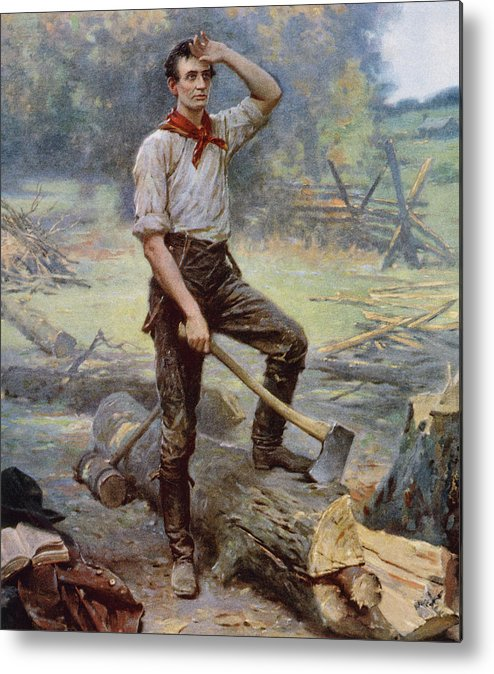 Abraham Lincoln Metal Print featuring the painting Abe Lincoln The Rail Splitter by War Is Hell Store