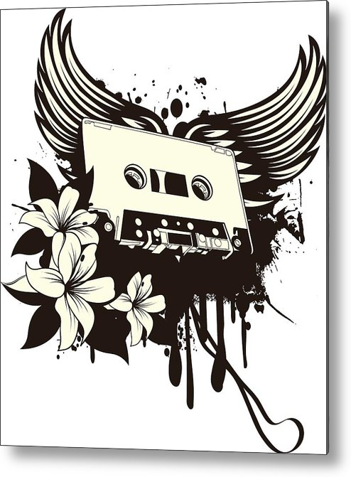 Gothic Metal Print featuring the digital art Cassette Tape With Wings by Passion Loft