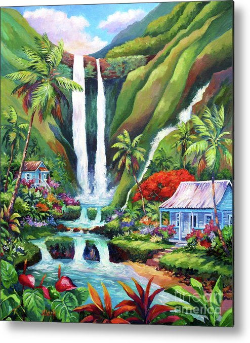 Waterfall Metal Print featuring the painting Paradise Falls by John Clark
