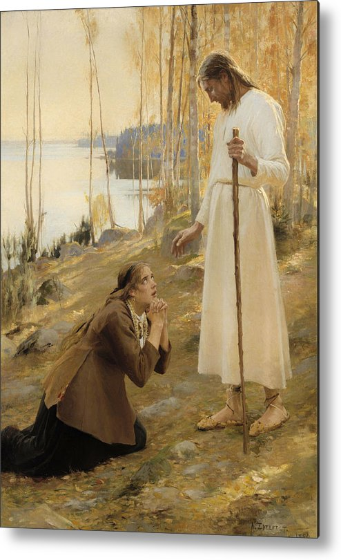 Painting Metal Print featuring the painting Christ And Mary Magdalene by Mountain Dreams