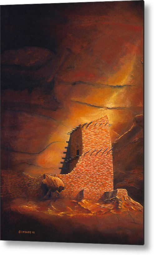 Mummy Cave Ruins Metal Print featuring the painting Mummy Cave Ruins by Jerry McElroy