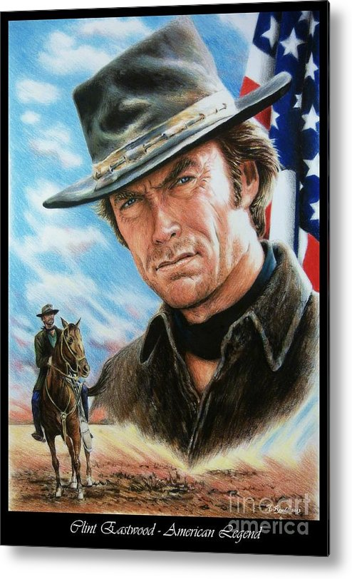 Patriotic Metal Print featuring the painting Clint Eastwood American Legend by Andrew Read