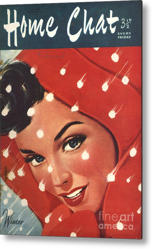 Magazine Cover Metal Print featuring the drawing 1950s Uk Home Chat Magazine Cover by The Advertising Archives