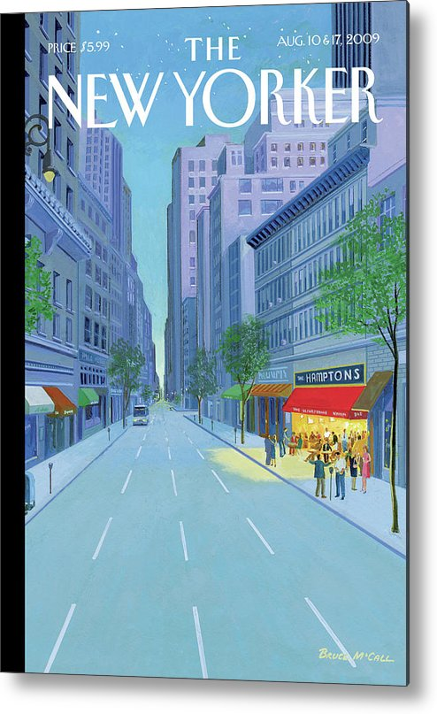 Hamptons Metal Print featuring the painting A Bar Called The Hamptons Is Filled With People by Bruce McCall