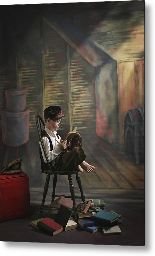 Reading Metal Print featuring the photograph A Boy Posed Reading Old Books Victoria by Pete Stec