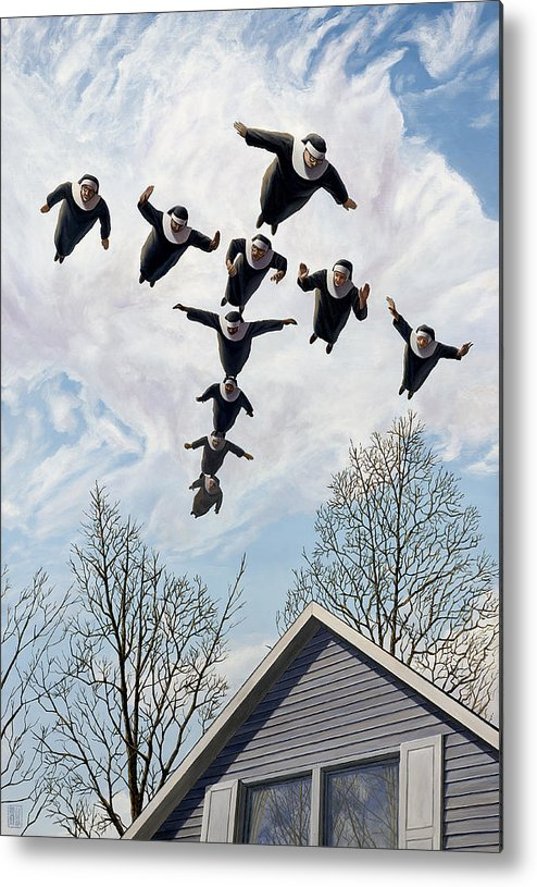 Nun Metal Print featuring the painting A Flock Of Flying Nuns by Heath Yonaites