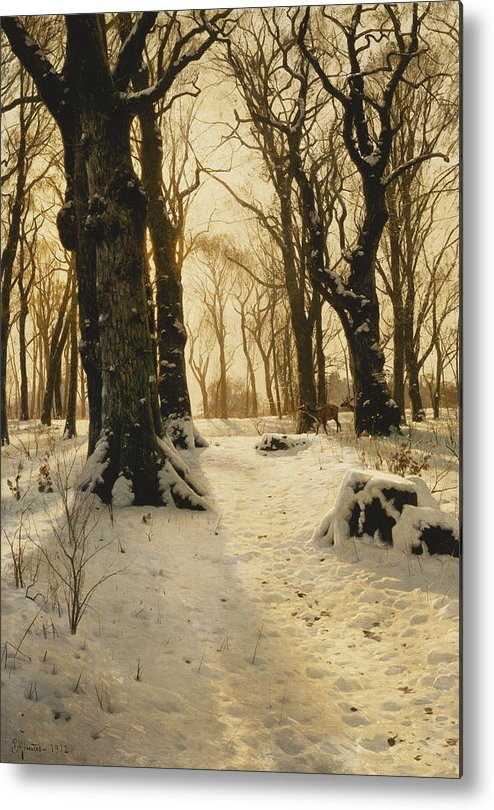 1910s Metal Print featuring the painting A Wooded Winter Landscape With Deer by Peder Monsted