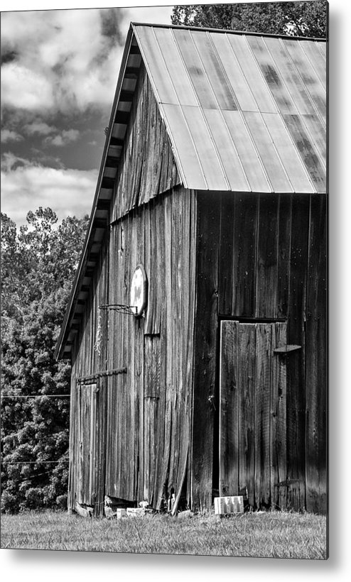 Landscape Metal Print featuring the photograph An American Barn Bw by Steve Harrington