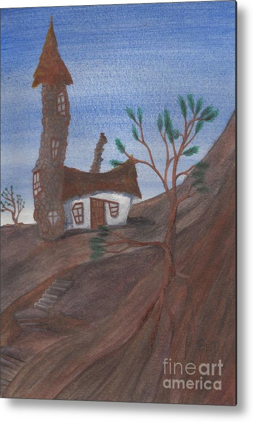 Tower Metal Print featuring the painting An Odd Folly by Robert Meszaros