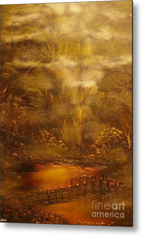 Landscape Metal Print featuring the painting Bridge Over Muddy Waters- Original Sold - Buy Giclee Print Nr 35 Of Limited Edition Of 40 Prints  by Eddie Michael Beck