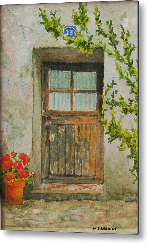 Door Metal Print featuring the painting Brittany Door by Mary Ellen Mueller Legault