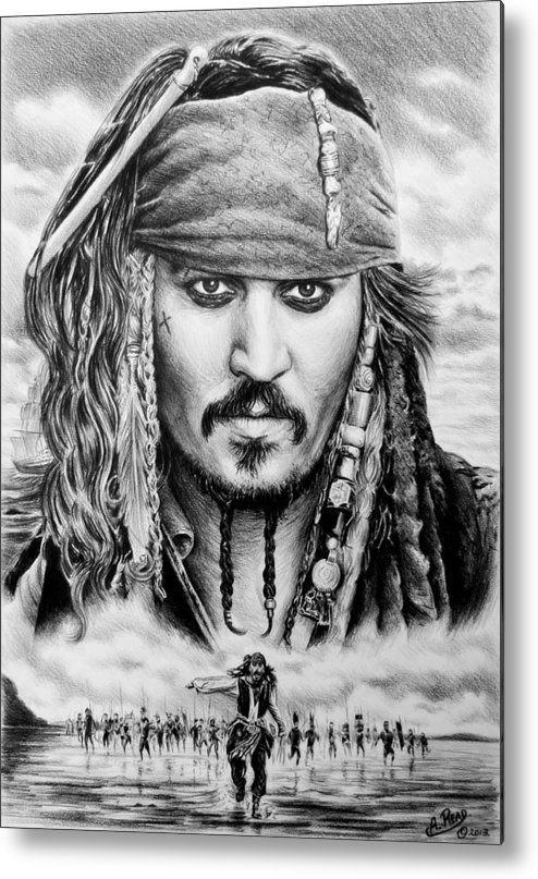 Andrew Read Metal Print featuring the drawing Captain Jack Sparrow 2 by Andrew Read