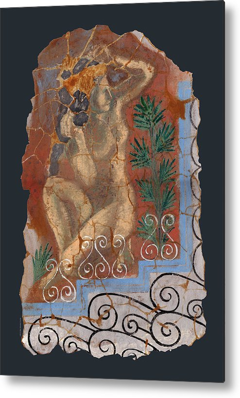 Nude Metal Print featuring the painting Classical Wall Fragment by Ben Morales-Correa